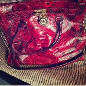 Authentic 💯 Michael Kors Snakeskin Red Purse 👜